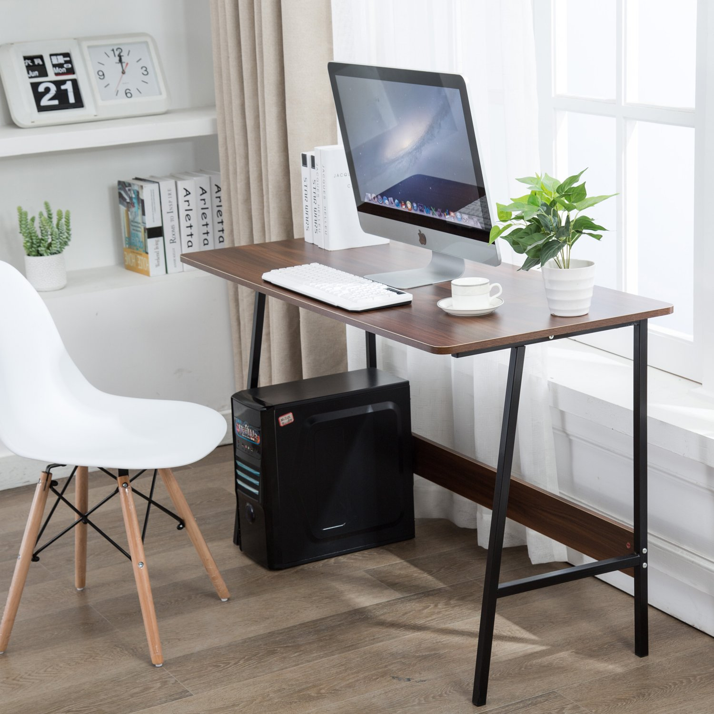 Office Desktop Laptop Computer Desk I Shaped Gaming Writing Study Table Workstation, Wood & Metal, White (47'', Teak)