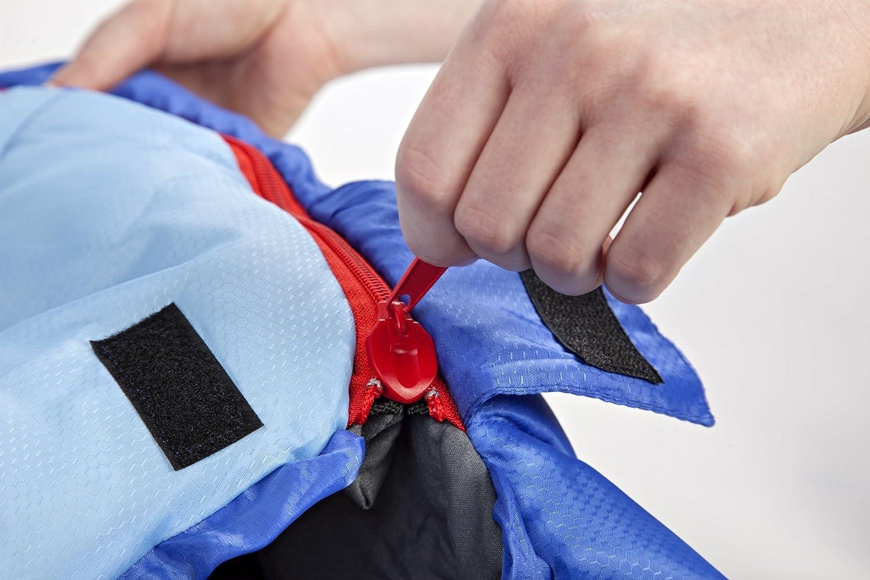 Azul resistente al agua y con control de calor avanzado ideal para festivales o hacer camping compacto Saco de dormir KeenFlex tipo momia para 3-4 estaciones extra c/álido y ligero