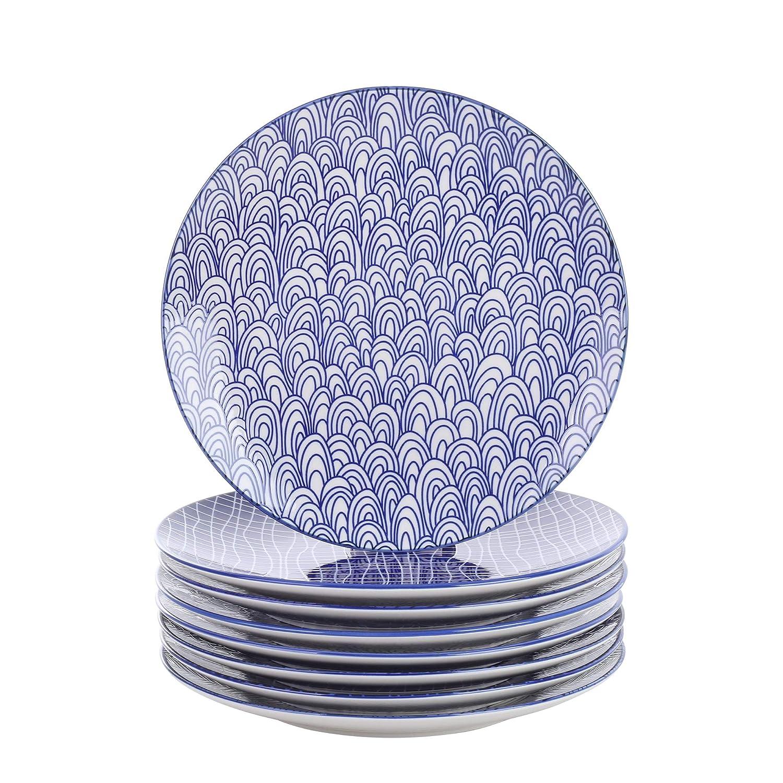 vancasso Takaki Plato Plano de 8 Piezas de Porcelana, Ø 27 cm ...