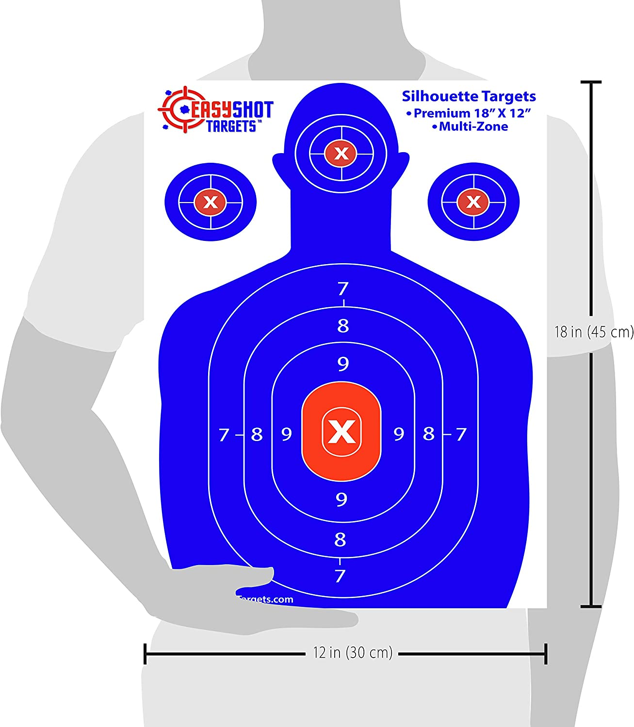 EasyShot Shooting Targets, High-Contrasting Blue & Red Colors Make it Easy to See Your Shots Land, Heavy-Duty Silhouette Targets for Shooting - 150 Free Repair Stickers Guarantee : Sports & Outdoors
