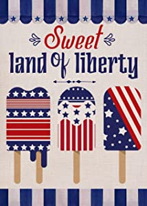Furiaz Sweet Land of Liberty Garden Flag House Yard Decorative Summer Small Flag American July 4th Outside Star Stripe Popsicle Red White Blue Decoration USA Patriotic Outdoor Decor Double Sided 12x18