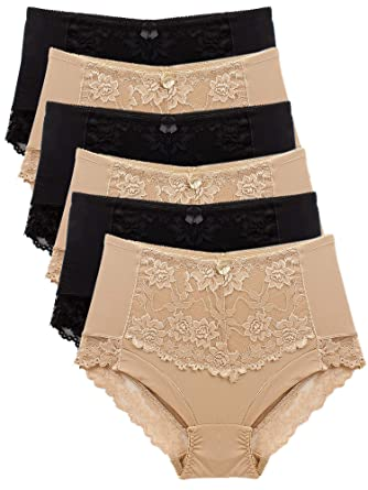 aabcb922112 Barbra s 6 Pack Ruched-Rear Uplift Full Brief Lace Trim Panties at ...