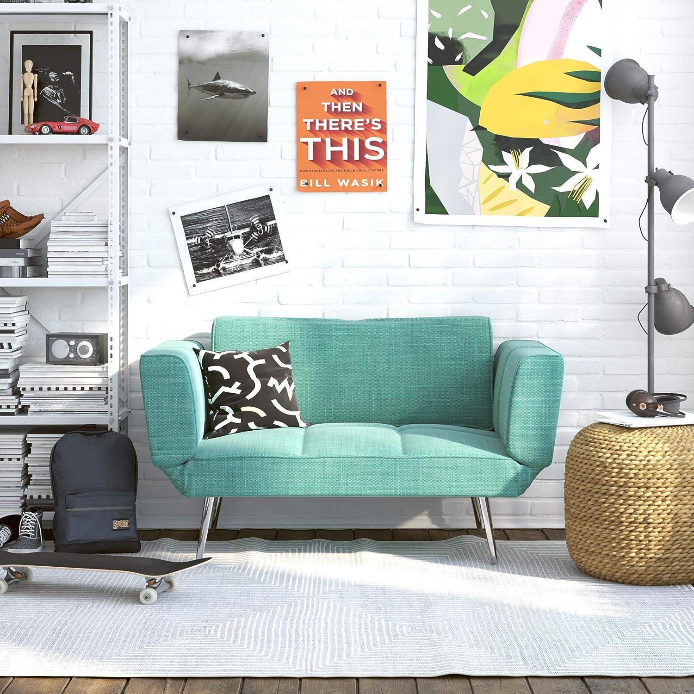Novogratz Leyla Loveseat with Magazine Storage, Adjustable Sofa Bed  Armrests to Convert into a Couch Sleeper, Teal Futon