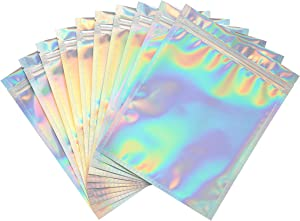 Bagnosis Holographic Bags Packaging Bags. 120 Resealable Bags. 7x9 Inch Mylar Bags for Food Storage, Cute Lip Gloss Bags for Packaging Products, Lash Bags, Smell Proof Bags Dispensary Packaging Bag