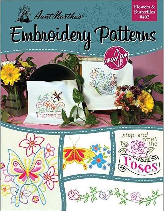 Aunt Martha/'s Iron-On Transfer Book-Flowers /& Butterflies