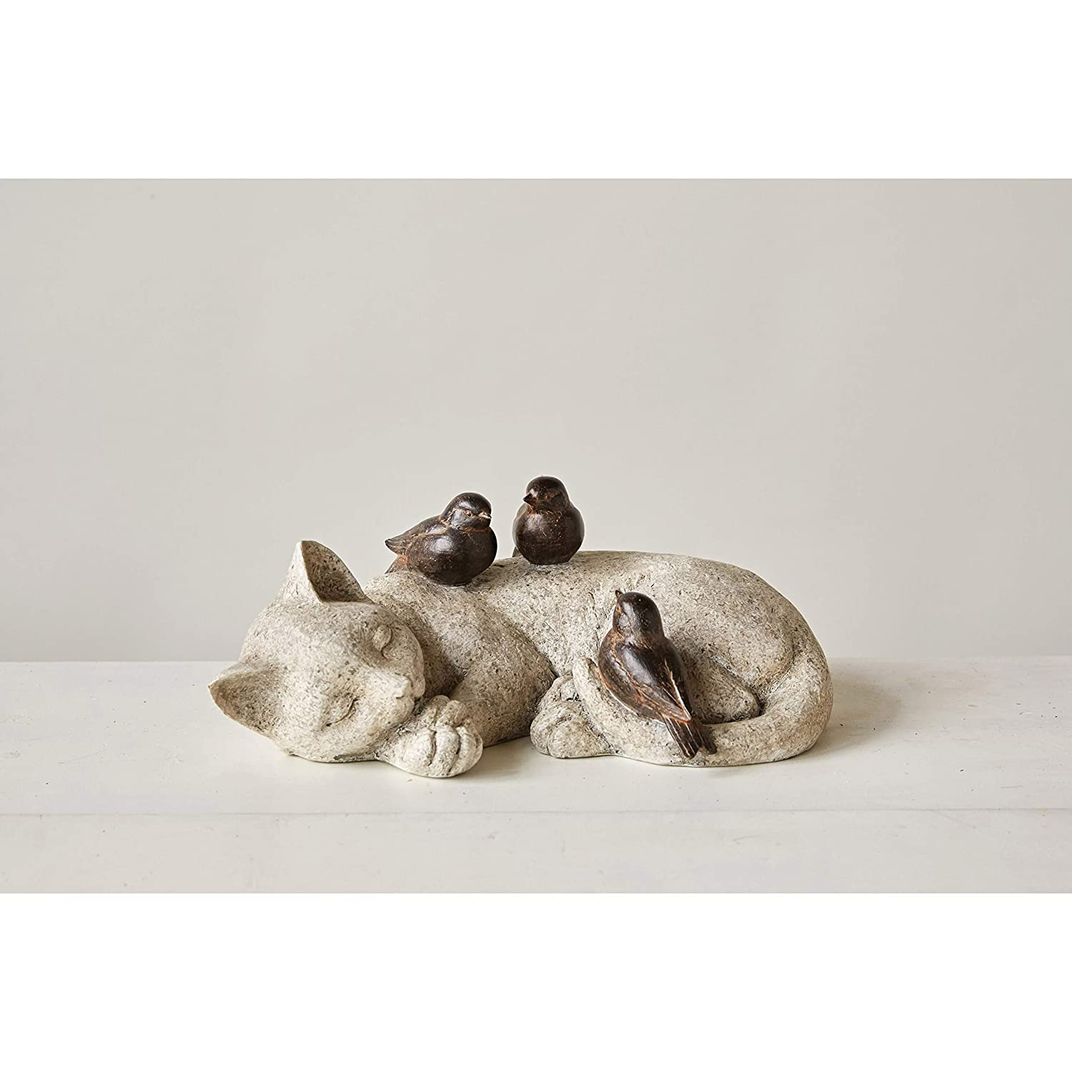 Creative Co-Op Cat Sleeping with Birds Resin Figurine, White