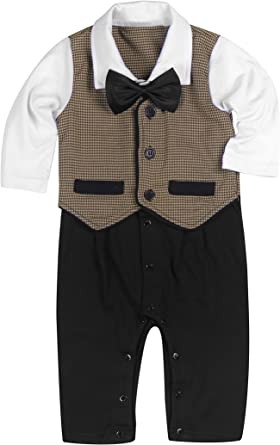 Baby Boy Wedding Tuxedo Waistcoat 1pc Formal Outfit Suit with Tie