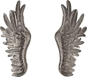 NRMEI Large Size Wall Hanging Wings Grand Angel Wings 2 Piece Set Vintage Style Bas Relief Sculptures Hand Crafted Wall Decor Artisinal Design(40''Tall Champagne Wings)