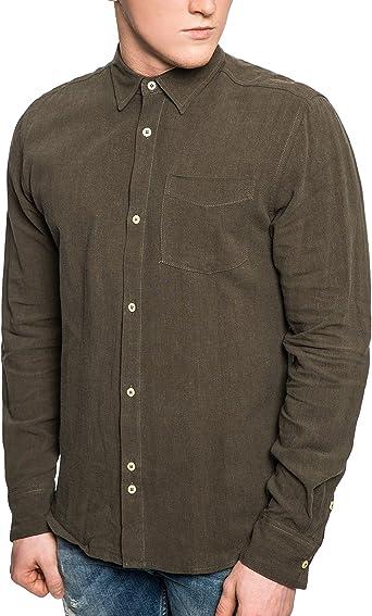 Bellfield - Camisa para hombre (lino, militar, con botones ...