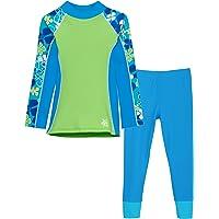 Tuga Girls Long Sleeve Rash Guard and Swim Legging Bathing Suit, UPF 50+
