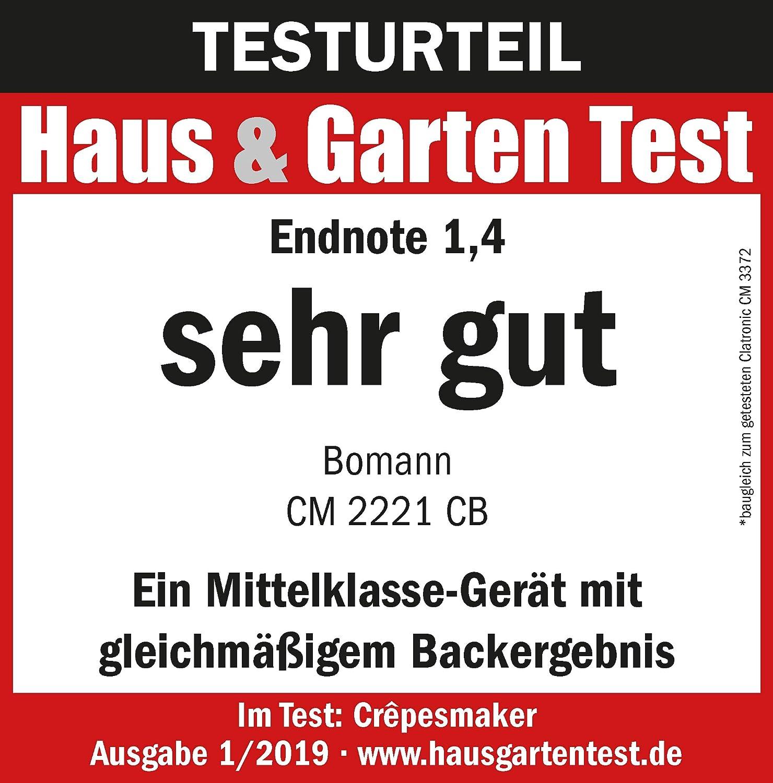 antihaftbeschichtet Bomann CM 2221 CB Cr/êpemaker /Ø 29 cm stufenlos regelbarer Thermostat inkl Teigverteiler