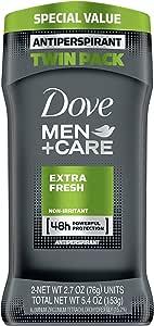 Dove Men+Care Antiperspirant Deodorant, Extra Fresh 2.7 oz (Twin Pack)