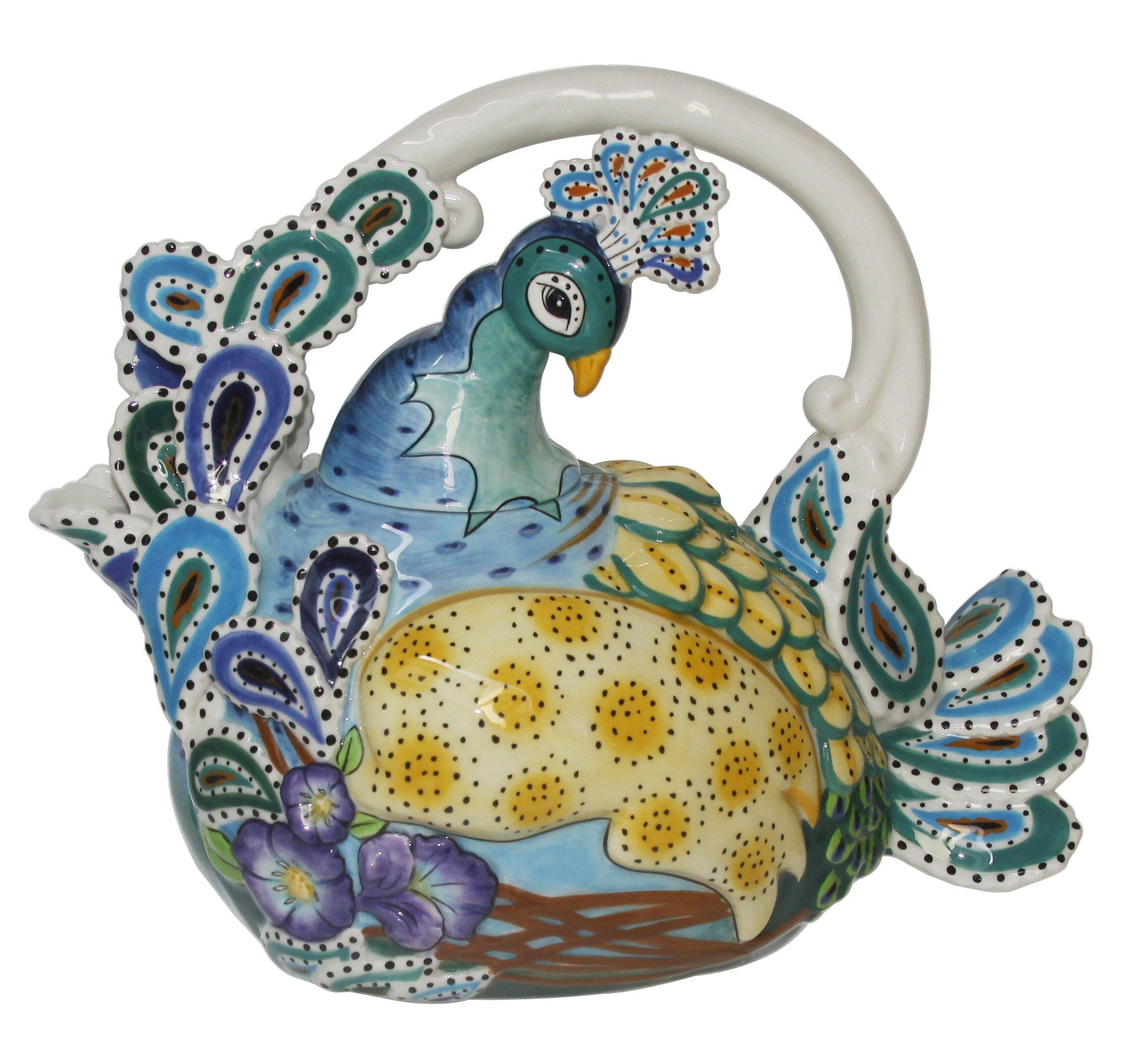 Blue Sky Ceramic Peacock Teapot, 10.5 x 6 x 9'', Blue