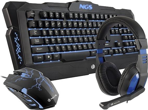 Kit Gaming : Teclado + Auriculares + Ratón NGS GBX-1000: Amazon.es: Informática