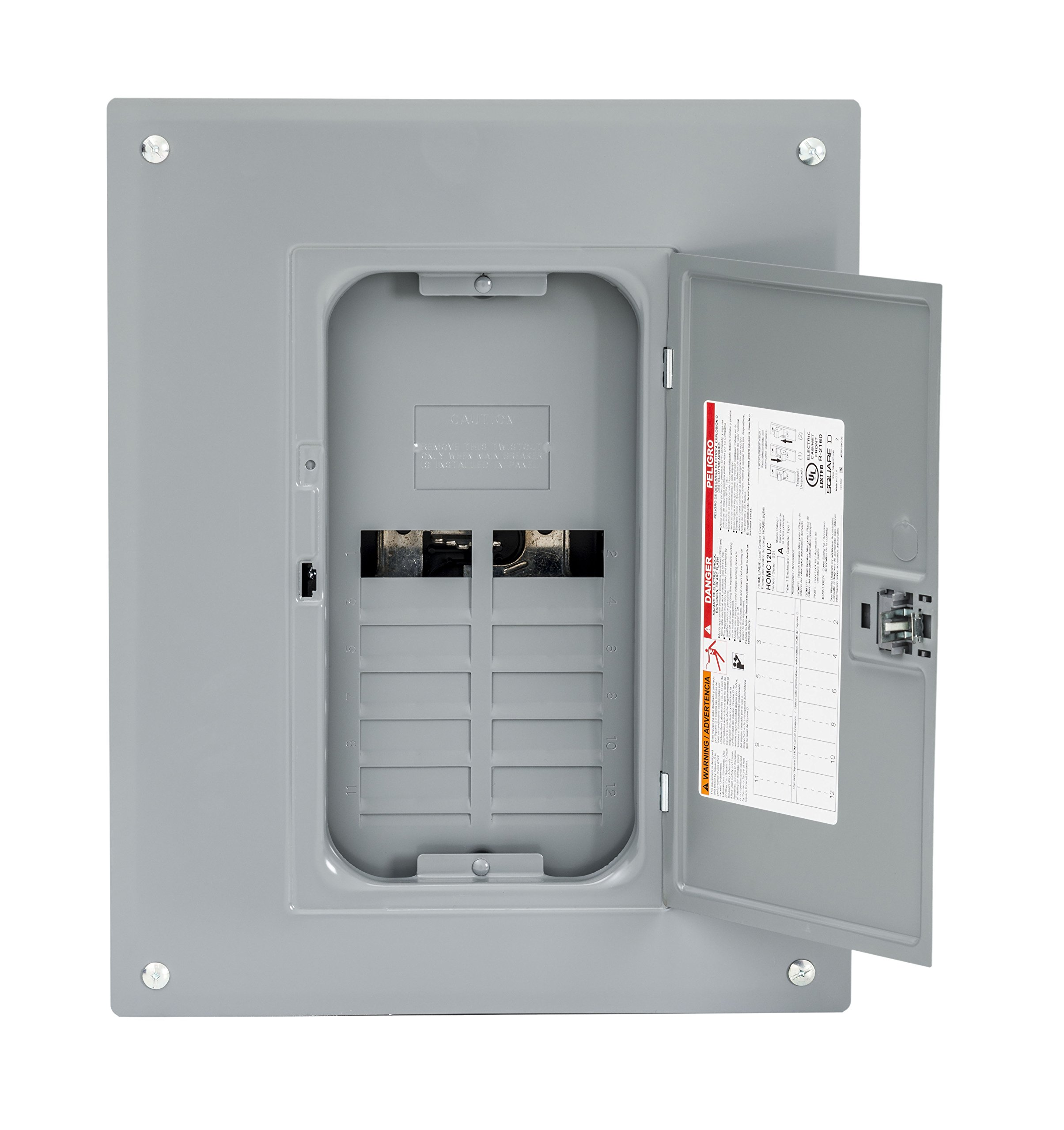 Square D by Schneider Electric HOM1224L125PC Homeline 125 Amp 12-Space 24-Circuit Indoor Main Lugs Load Center with Cover (Plug-on Neutral Ready),