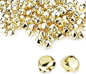 50 Pieces Jingle Bells 4/5Inch Craft Bell Bulk for Christmas Home and Pet Decorations (Gold)