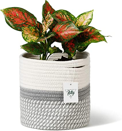 Maroon Waterproof Lining Storage Basket Blue with Silver Speckles Fabric Pot Plant Holder House Warming Gift