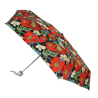 Totes Manual Mini Tropical Hibiscus Print Travel Compact Umbrella, Black