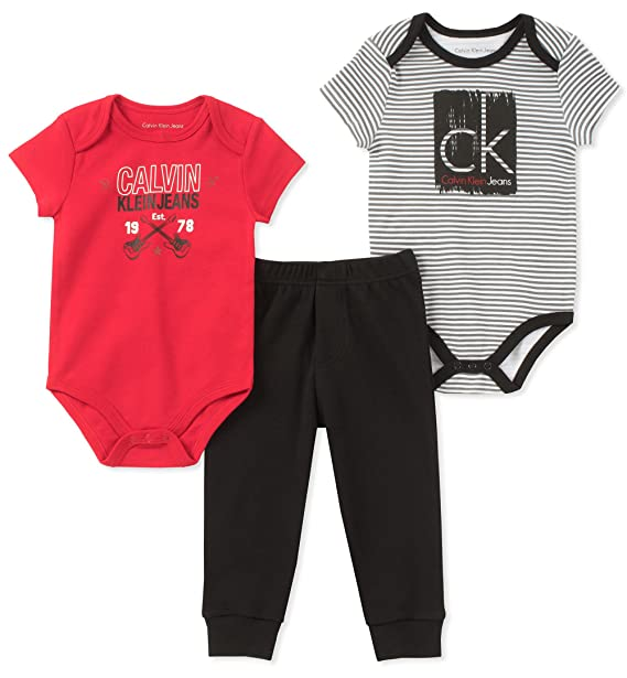 9458d3f25f5e1 Amazon.com  Calvin Klein Baby Boys 3 Pieces Creeper Pant Set  Clothing