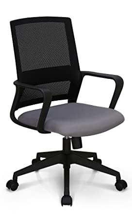 Neo Chair High End Air Mesh and Nylon Base Managerial Conference Room Office Chair Ergonomic Lumbar Support Computer Desk Chair Adjustable Swivel Mid Back Task Chair Rolling Armrests Stool, Grey
