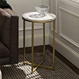 Walker Edison Modern Round Side End Accent Table Living Room, Marble/Gold
