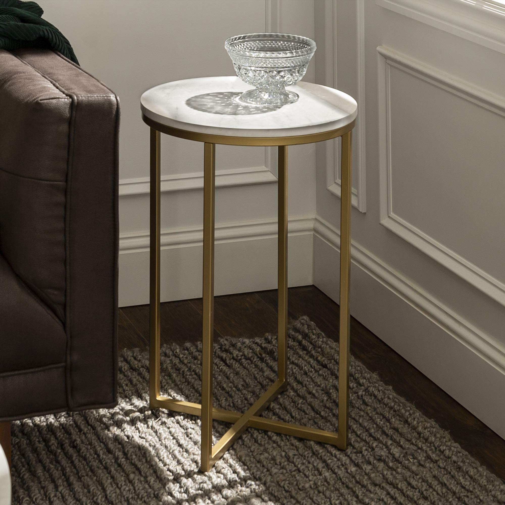 Walker Edison Cora Modern Faux Marble Round Accent Table with X Base, 16 Inch, Marble and Gold