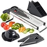 VonShef Mandoline Slicer Vegetable Cutter | V-Blade Julienne and Grater | 5 Blades including Storage Container