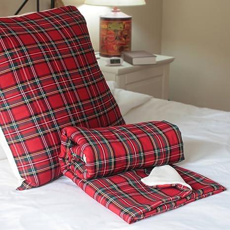 Conjunto manta y cojin Escoces - escoces rojo - manta roja ...