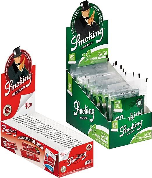 Compra Smoking Red Regular - Papel de Liar (50 x 60 Hojas + 1 Caja Smoking Menthol Filtro de Cigarrillos de 6 mm, Filtro Giratorio Fino) en Amazon.es