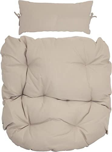 Sunnydaze Egg Chair Cushion Replacement with Head Pillow, Beige