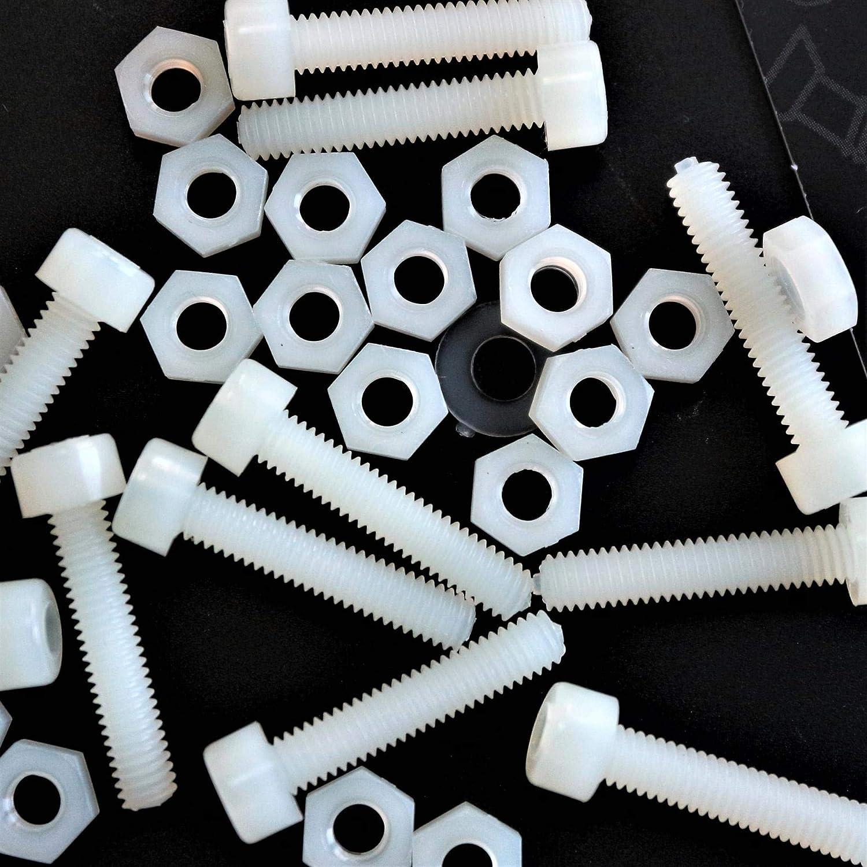 /écrous et rondelles 50 x douilles en nylon noir boulons vis de machine en plastique M5 x 20mm
