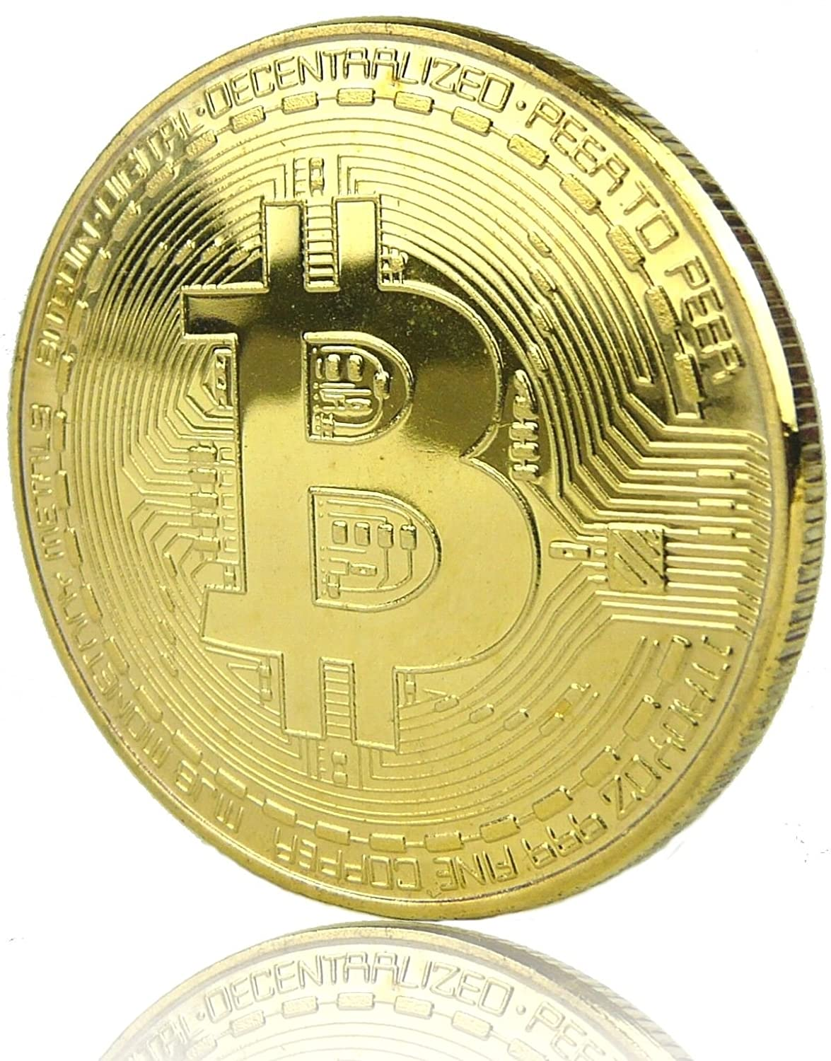 Gold Plated Iron Bitcoin Commemorative Round Collectors Coin Art Collection Gift