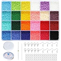 BALABEAD Size Almost Uniform Glass Seed Beads with Beading Kit, About 7800pcs in Box 24 Multicolor Assortment Size 2x3mm…