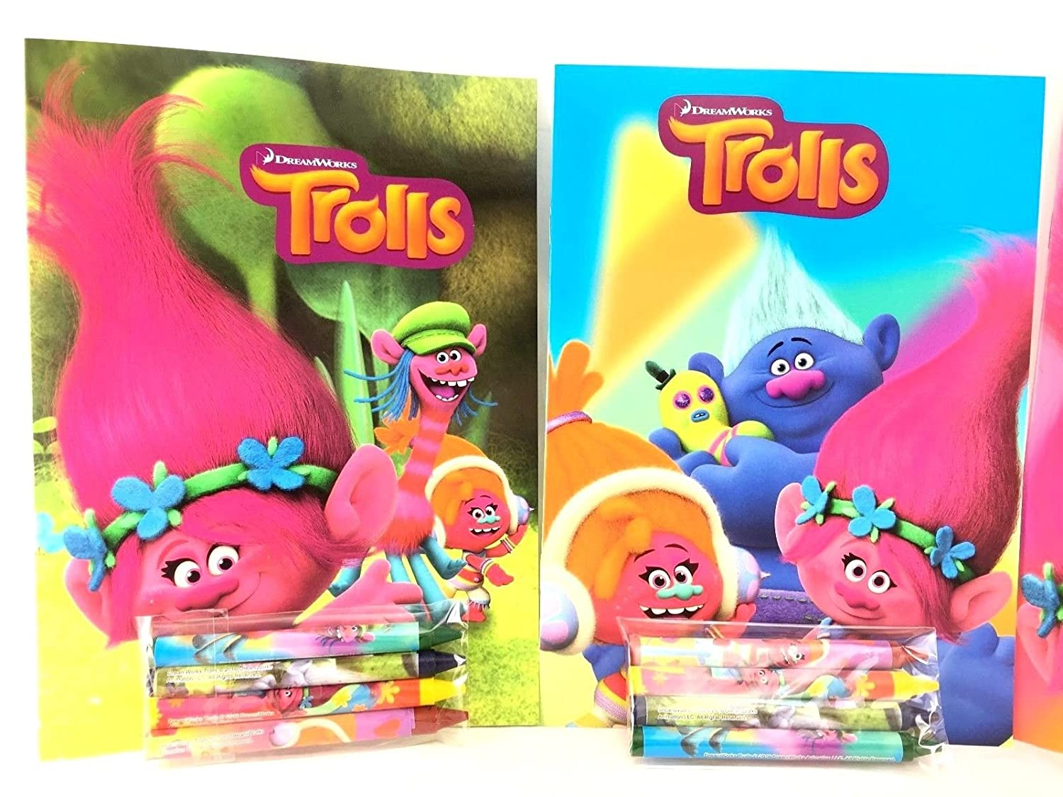 Amazon.com: Party Favors Trolls Coloring Book & Crayon Set 12 Pack (  Assorted Style): Toys & Games