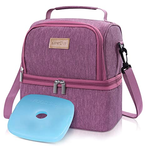 Lifewit Bolsa Térmica Porta Alimentos con Paquete de Hielo Doble Compartimentos Aislamiento Bolsa de Almuerzo Para Hombres,Mujeres,Niños,Bebé,Bolso ...