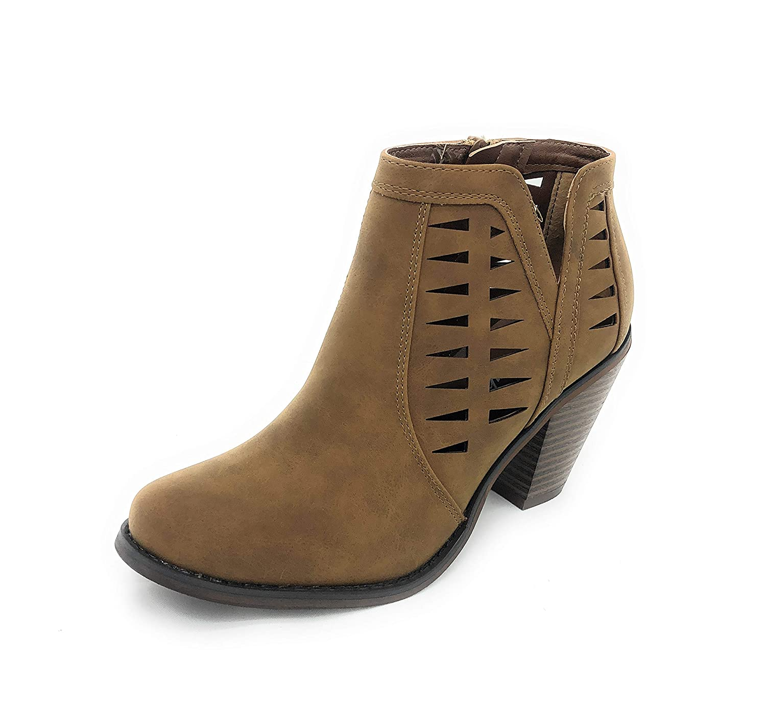 Tan-irene-02 SOLE COLLECTION Faux Leather Suede Strap Side Zipper Chunky Block Heels Dress Ankle Boots