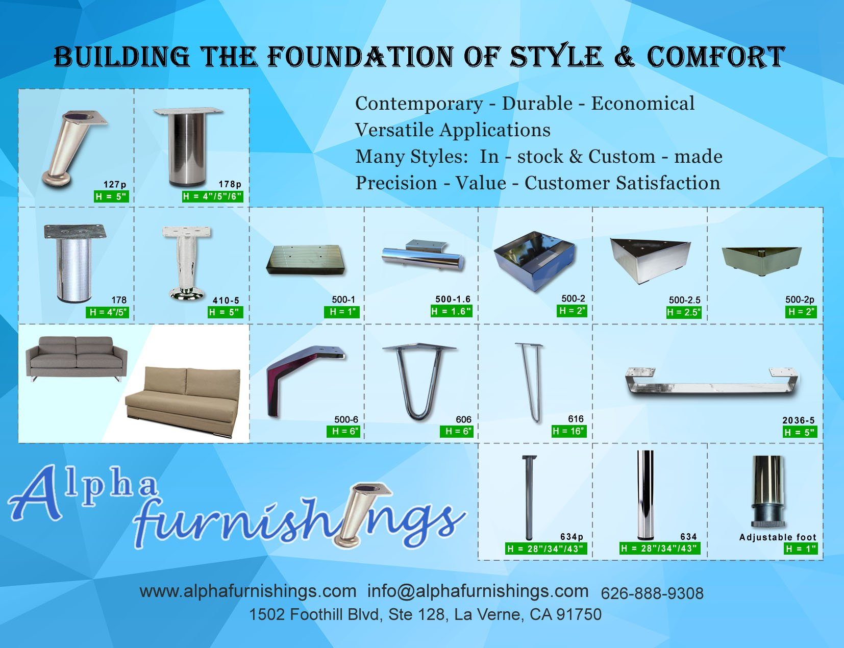 Metal Furniture Legs for Sofa Cabinets Stainless Steel 3'' 3 inch or 4'' 4 inch Solid Wide Flat Legs 4PC (3'' Chrome)