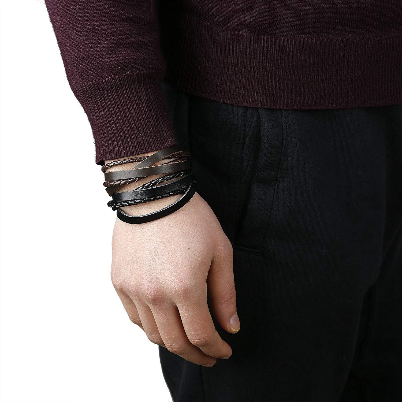 BE STEEL Schmuck 10-12 St/ücke Leder Armb/änder f/ür Herren und Damen Armband Geflochten L/änge Elastisch