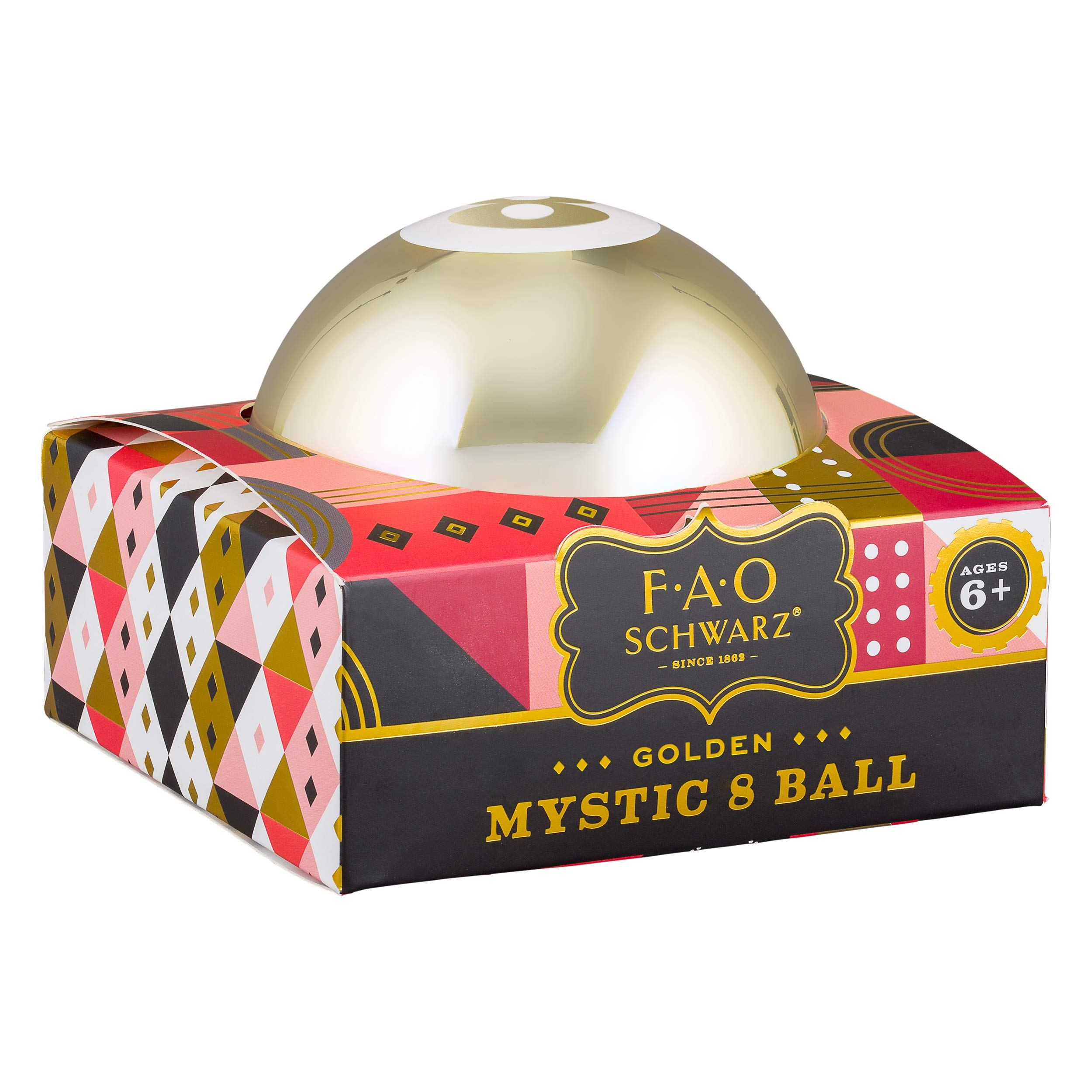 FAO Schwarz AFAO010 Mystic 8 Fortune Telling Shake Ball Classic Magical 3.75'' Toy, Gold by FAO Schwarz
