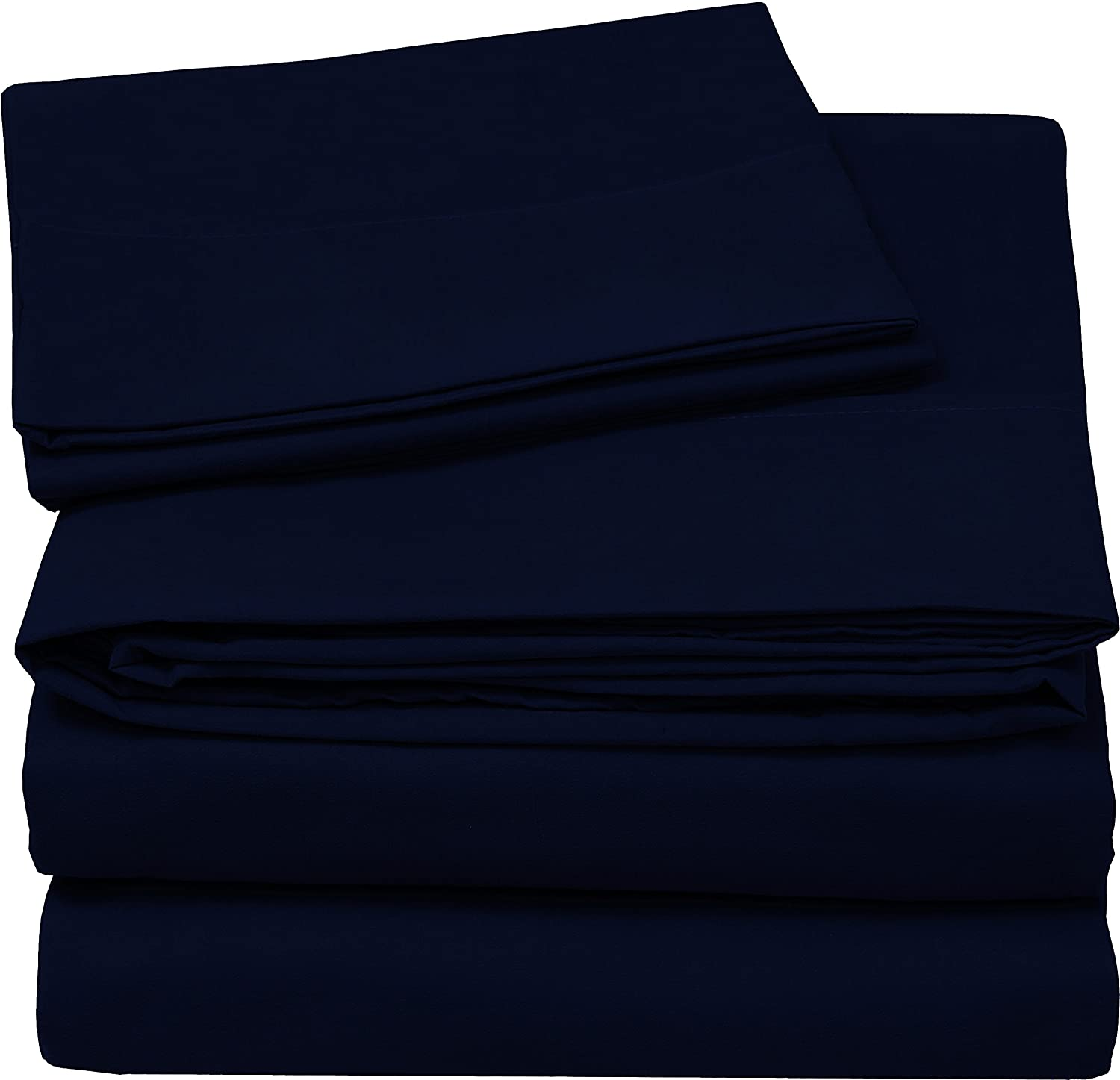 4-Piece King Bed Sheet Set - Navy