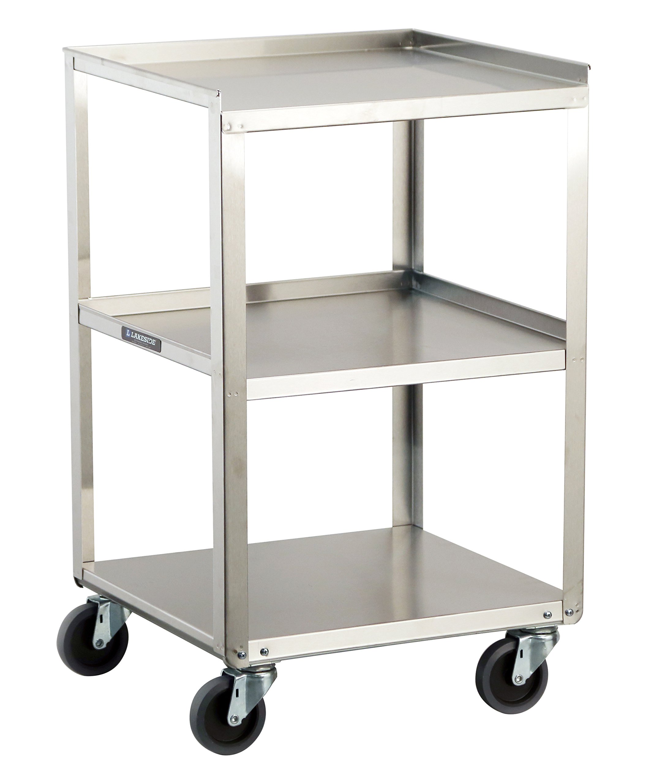 Lakeside 359 Stainless Steel Mobile, Equipment Stand, Weight Capacity 300 lb., 3 Shelves, 16-3/4'' x 18-3/4'' x 30-1/8''