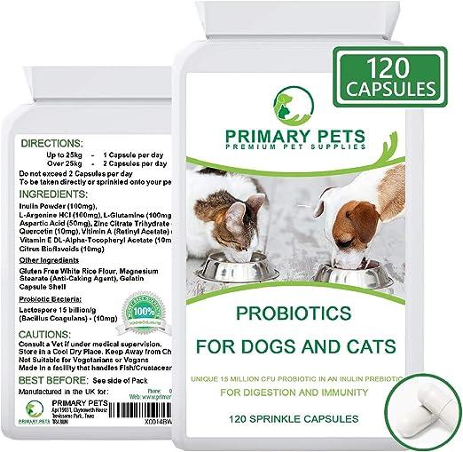 Probióticos para Perros. 120 Cápsulas en Polvo. 15mil Millones de UFC. Suplemento de Salud Digestiva para Perros. con prebiótico: Amazon.es: Productos para mascotas
