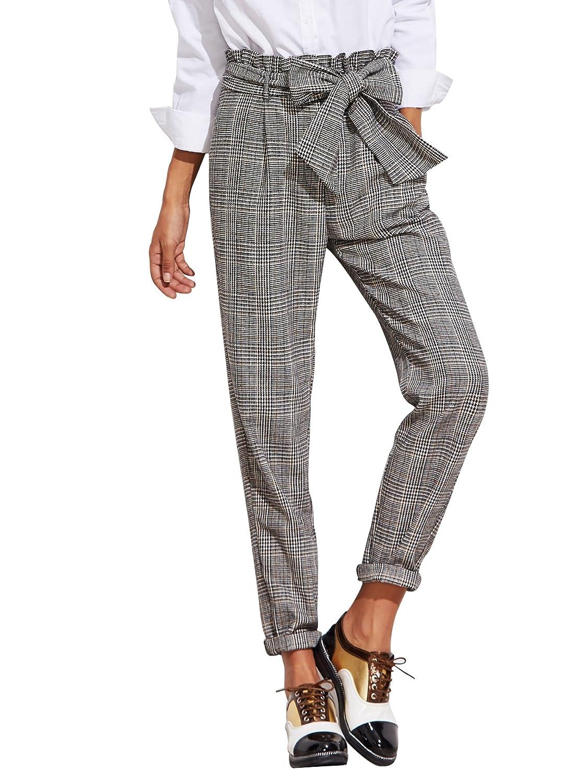 SheIn Women's Ruffle Tie Waist Pants with Pockets