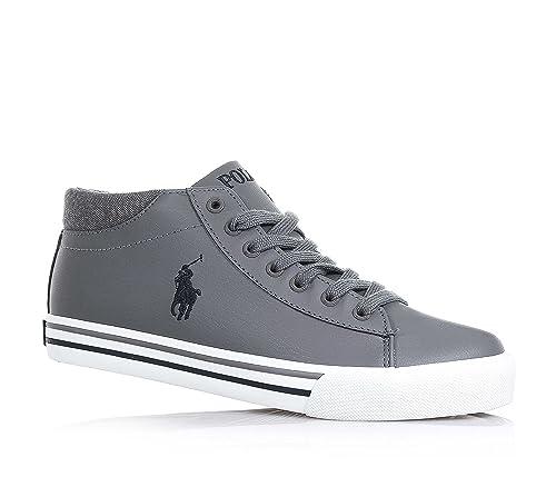 POLO RALPH LAUREN - Zapato gris con cordones en cuero, logo azul ...
