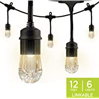 Tiras de luz led Enbrighten Café, 3.65m, 6 bombillas LED, 12 ft.   6 LED Bulbs, Negro