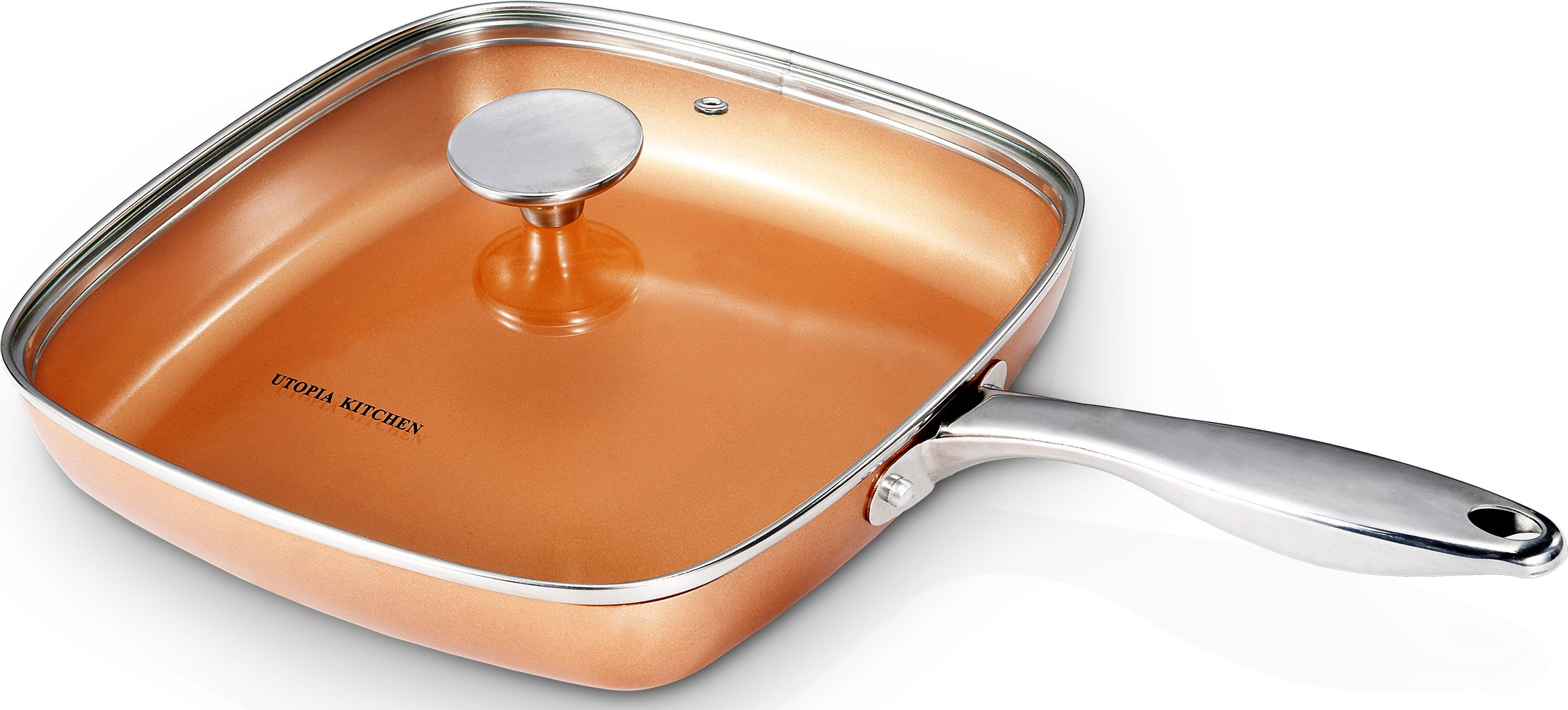 Utopia Kitchen Induction Bottom 9.5 Inches Copper Nonstick Square Frying Pan with Glass Lid and Stainless Steel Handle - Multipurpose Use for Home Kitchen and Restaurant by Utopia Kitchen (Image #3)