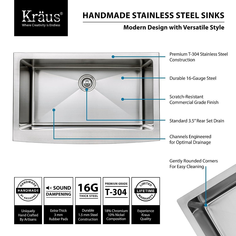Bon Kraus KHF200 33 KPF1612 KSD30CH 33 Inch Farmhouse Single Bowl Stainless  Steel Kitchen Sink With Chrome Kitchen Faucet And Soap Dispenser   Single  Bowl Sinks ...