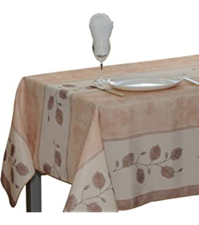 60 X 120 Inch Rectangular Tablecloth Beige Leaf, Stain Resistant, Washable,  Liquid