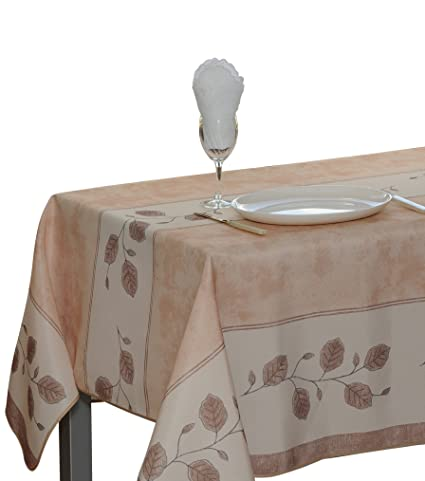 Superbe 60 X 80 Inch Rectangular Tablecloth Beige Leaf, Stain Resistant, Washable,  Liquid