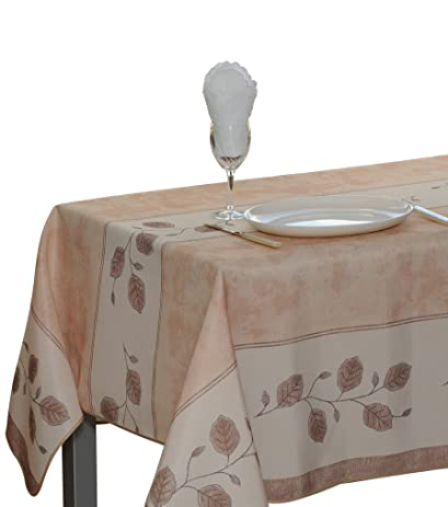 Amazing 60 X 80 Inch Rectangular Tablecloth Beige Leaf, Stain Resistant, Washable,  Liquid